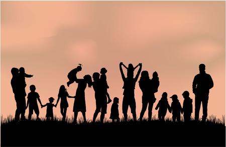 familias felices: Siluetas de la familia