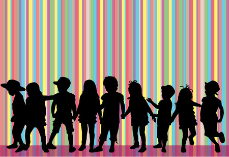 dance shadow: children silhouettes Illustration