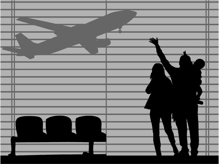 The family at the airport-an illustration Ilustração
