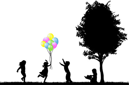 family on grass: children silhouettes Illustration