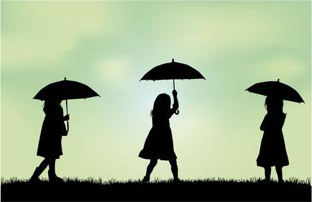 rain coat: Girl with umbrella