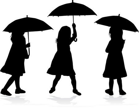 rain coat: Girl with umbrella