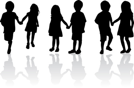 children silhouettes Ilustrace