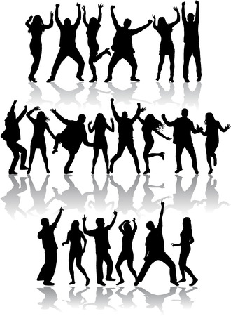 teenagers group: Dancing silhouettes