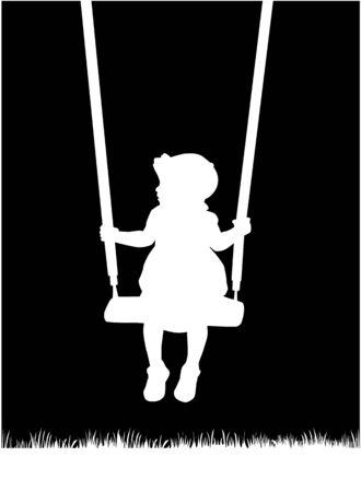girl on swing: children silhouettes Illustration
