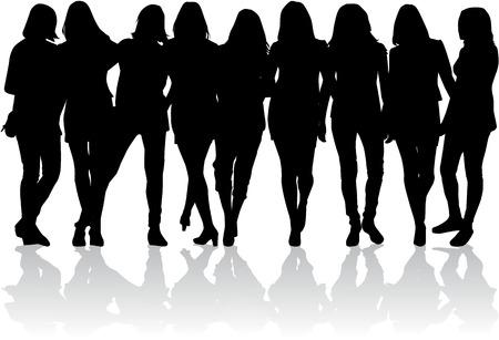 Siluetas de mujeres Foto de archivo - 36383711