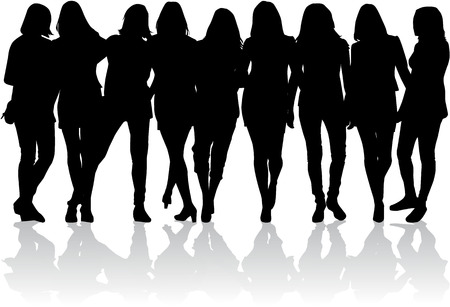 Vrouwen silhouetten Stock Illustratie