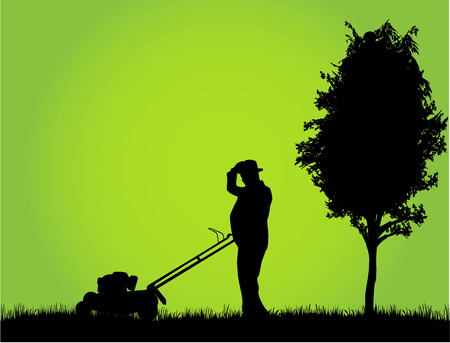 mowing grass: Man Mowing Lawn