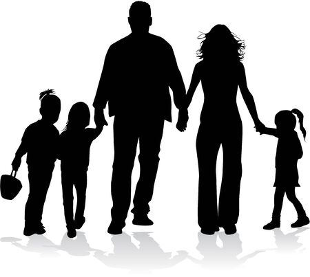 freedom couple: Family silhouettes Illustration