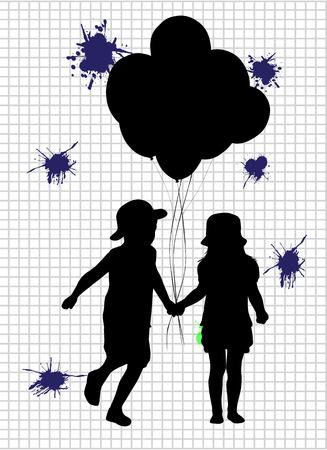 grille: children silhouettes Illustration
