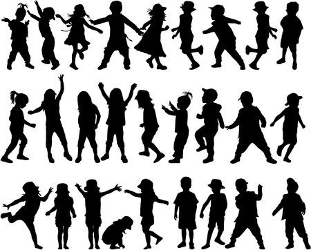Silhouettes d'enfants Banque d'images - 36412010