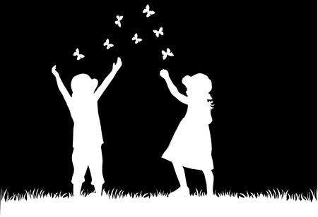 dancing silhouette: children silhouettes Illustration