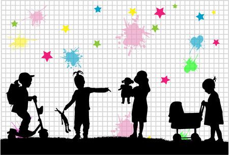 teddybear: children silhouettes Illustration