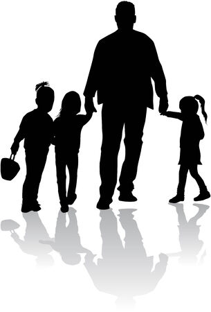 expressing positivity: Family silhouettes Illustration