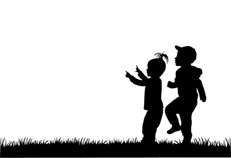 children silhouettes 向量圖像
