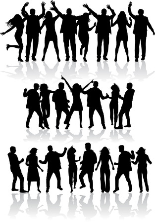 group people: Dancing silhouettes