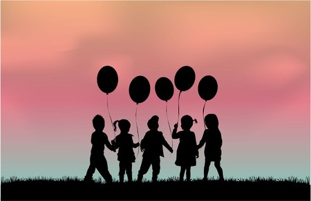 girl shadow: Silhouette of children with balloon. Illustration