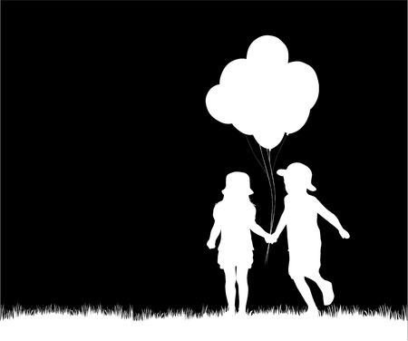 balloon girl: children silhouettes Illustration