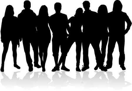 crowd silhouette: Group of people Illustration