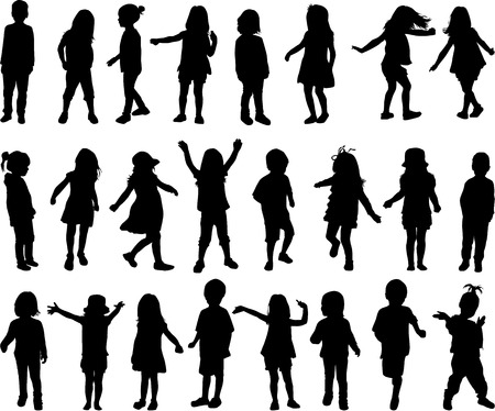 vintage children: children silhouettes Illustration