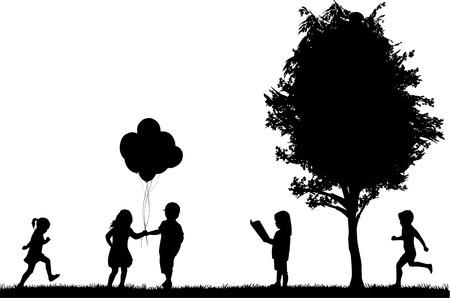 alike: children silhouettes Illustration