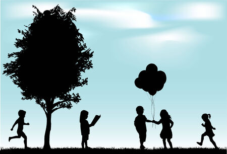 day care: children silhouettes Illustration
