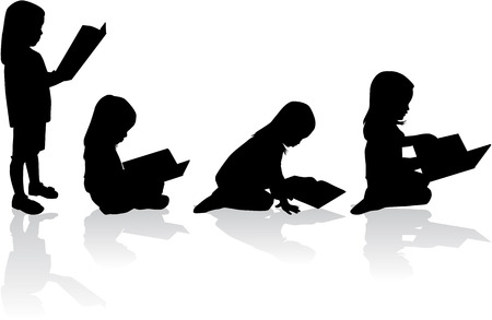 reader: Silhouette of a girl reading a book.