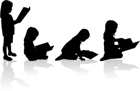 niños leyendo: Silueta de una niña leyendo un libro. Vectores