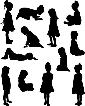 sentarse: Niños siluetas