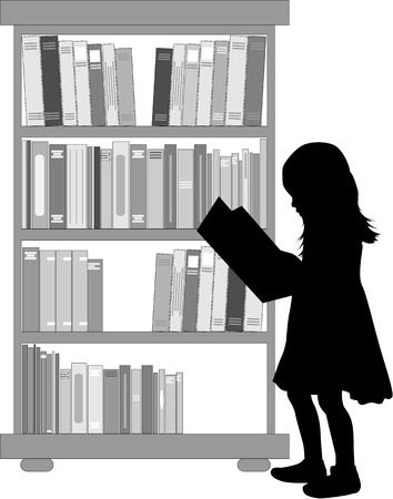 hardback: Silhouette of a girl reading a book.
