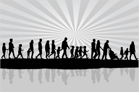 son of man: Group of people Illustration