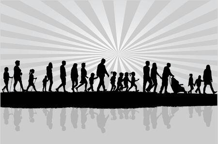 walking on hands: Group of people Illustration