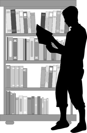 pile of papers: Silhouette of a man with a book.