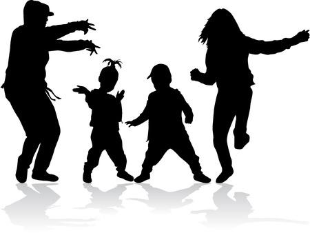 Dansende silhouetten Stockfoto - 37042486