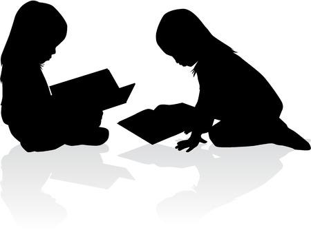 Silhouette d'une fille lisant un livre. Banque d'images - 37042528