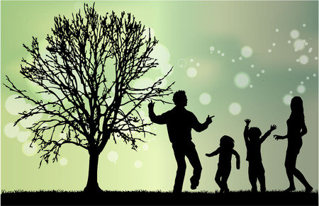 shadow people: Family silhouettes Illustration