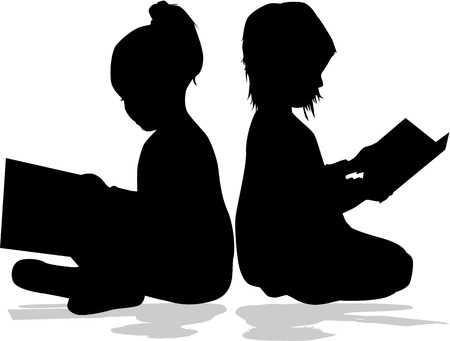 children silhouettes: Silhouette of a girl reading a book.