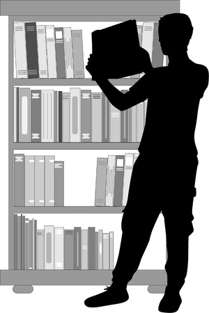 reader: Silhouette of a man with a book.