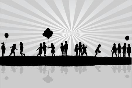 children silhouettes 向量圖像