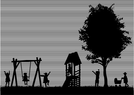 girl on swing: Children at the playground.