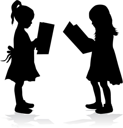 clambering: Silhouette of a girl reading a book.