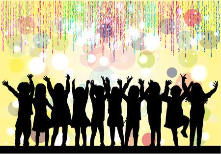 niños bailando: Niños siluetas