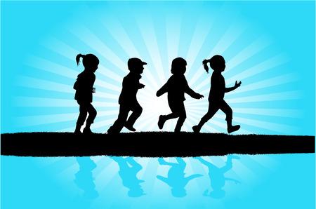 children silhouettes: children silhouettes Illustration