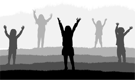shadow people: Children silhouettes