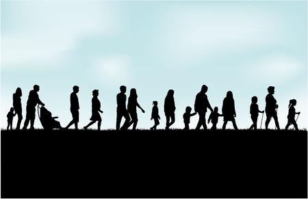 padres e hijos felices: La gente pasar el tiempo activamente Vectores