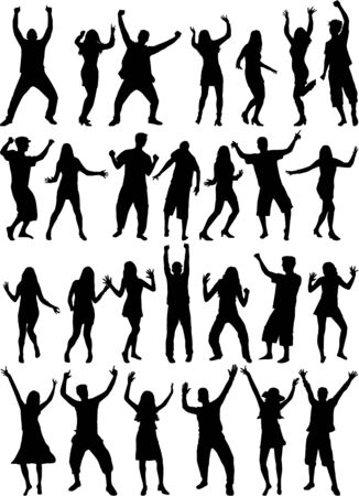 Danza gente siluetas