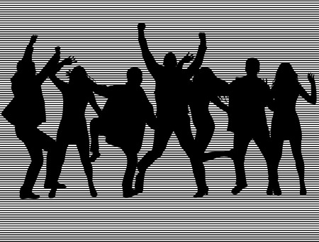 neon party: Dancing people silhouettes