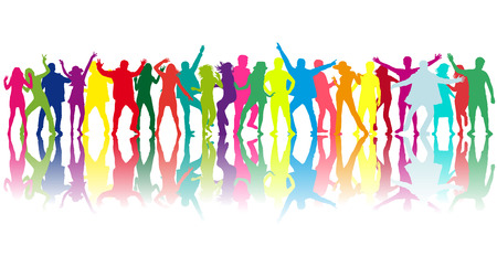 Dancing personnes silhouettes