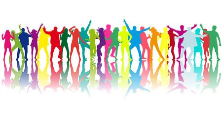 grupos de personas: Danza gente siluetas