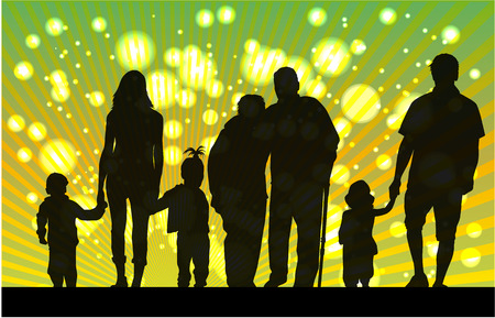 grandmother grandchild: Family silhouette.